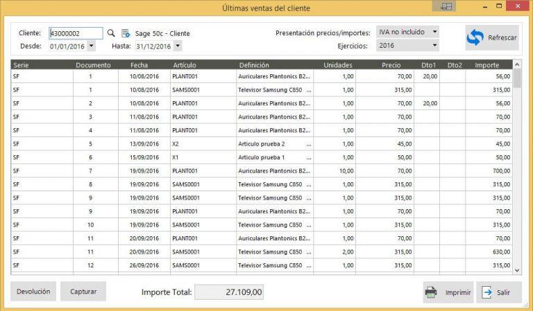 Sage 50c estadísticas ventas